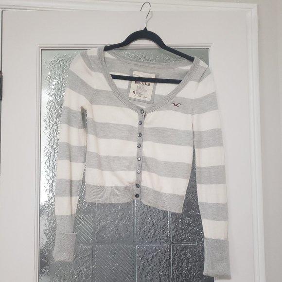 Grey & White Stripped Hollister Cardigan